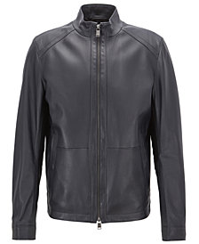 BOSS Men's Regular/Classic-Fit Leather Blouson Jacket