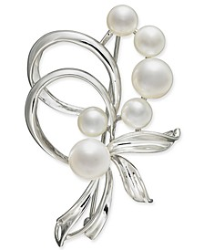 Cultured Freshwater Pearl (7mm & 5mm) Pin in Sterling Silver and 18k Gold Over Silver