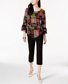 Alfani Bell-Sleeve Top & Straight-Leg Capris, Created for Macy's