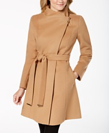 Michael Michael Kors Asymmetrical Belted Coat, Created for Macy's