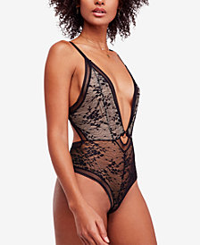 Free People No Trace Plunging Lace Bodysuit