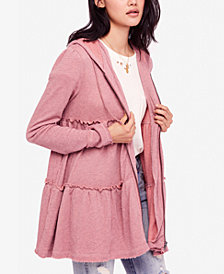 Free People Raw-Edge Zip-Front Hoodie