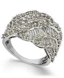 Diamond Cluster Statement Ring (3 ct. t.w.) in 14k White Gold