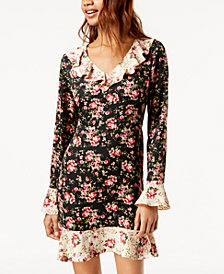 One Hart Juniors' Contrast-Floral Ruffled Dress, Created for Macy's