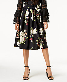 One Hart Juniors' Printed Pleated Midi Skirt, Created for Macy's