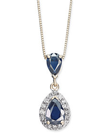 "Sapphire (1-3/8 ct. t.w.) & Diamond (1/6 ct. t.w.) Teardrop 18"" Pendant Necklace in 14k Gold"