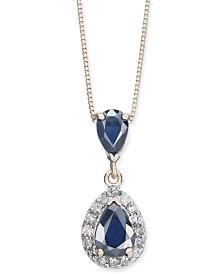 """Sapphire (1-3/8 ct. t.w.) & Diamond (1/6 ct. t.w.) Teardrop 18"""" Pendant Necklace in 14k Gold"""