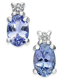 Tanzanite (1 ct. t.w.) & Diamond Accent Stud Earrings in 14k White Gold