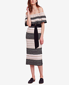 Free People Off-Duty Off-The-Shoulder Cotton Midi Dress