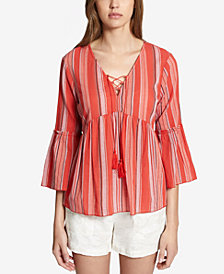 Sanctuary Sedona Cotton Striped Lace-Up Top