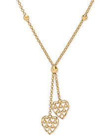 "Heart & Bead 17"" Lariat Necklace in 10k Gold"