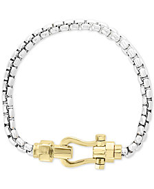EFFY® Men's Horseshoe Clasp Box Link Bracelet in Sterling Silver & 18k Gold Plate
