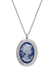 "Oval Cameo Locket 18"" Pendant Necklace in Sterling Silver"