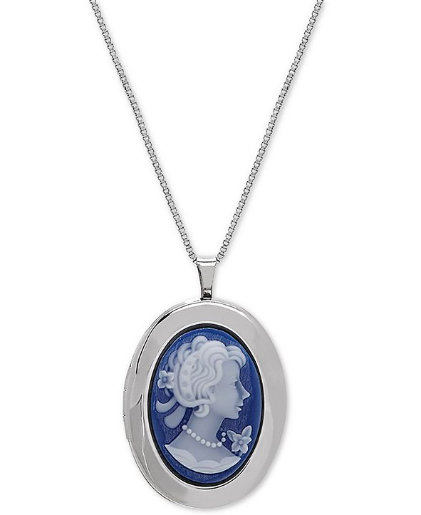 "Macy's Oval Cameo Locket 18"" Pendant Necklace in Sterling Silver"