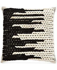 "Oxford Collection Chunky Hand-Woven 20"" Square Decorative Pillow, Created for Macy's"