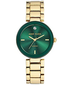 Anne Klein Women's Diamond-Accent Gold-Tone Bracelet Watch 32mm