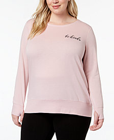 Ideology Plus Size Strappy-Back Graphic Top, Created for Macy's