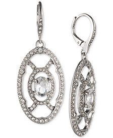 Jenny Packham Silver-Tone Crystal Openwork Drop Earrings