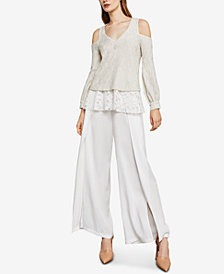BCBGMAXAZRIA Hansen Cold-Shoulder Lace-Contrast Top
