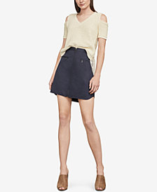 BCBGMAXAZRIA Joanne Fringe Cold-Shoulder Top