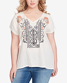 Jessica Simpson Trendy Plus Size Carmensita Embroidered T-Shirt