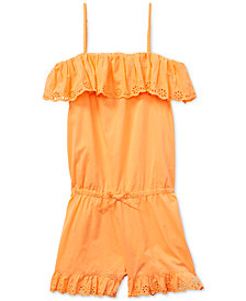 Polo Ralph Lauren Big Girls Ruffled Cotton Romper
