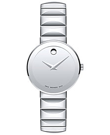Movado Women's Swiss Sapphire Stainless Steel Bracelet Watch 28mm