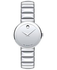 Movado Women's Swiss Sapphire Stainless Steel Bracelet Watch 28mm