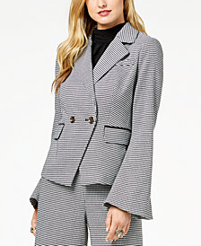 Zoe by Rachel Zoe Double-Breasted Houndstooth Blazer, Created For Macy's