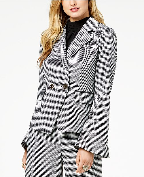 Rachel Zoe Double-Breasted Houndstooth Blazer, Created For Macy's