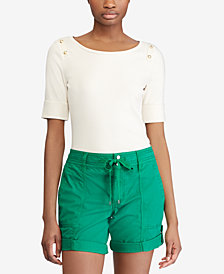 Lauren Ralph Lauren Button-Shoulder Top