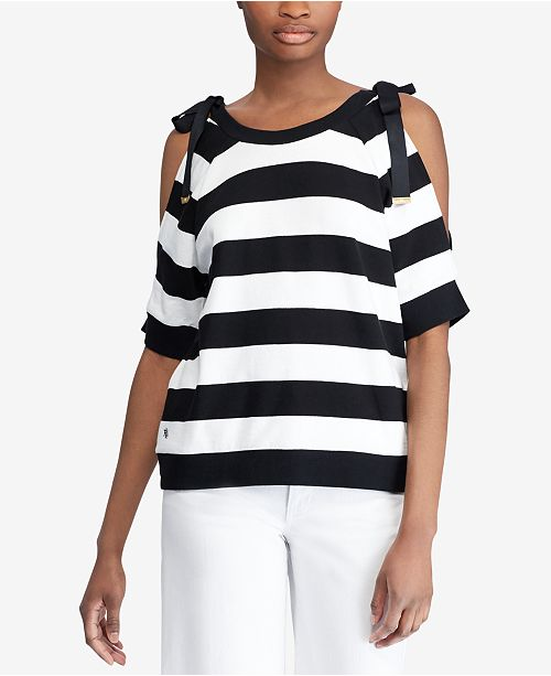 fc5306c39aed9a Lauren Ralph Lauren Striped French Terry Cold-Shoulder Top   Reviews ...