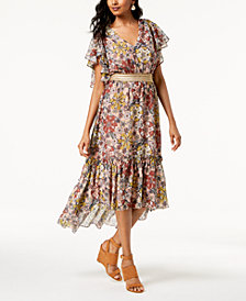 Taylor Floral-Print Ruffled Midi Dress