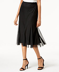 Alex Evenings Mesh Midi Skirt