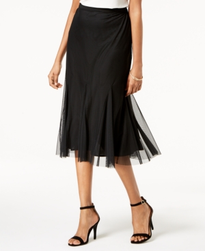 1930s Style Skirts : Midi Skirts, Tea Length, Pleated Alex Evenings Mesh Midi Skirt $79.00 AT vintagedancer.com