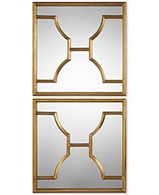 Misa Gold Square Mirrors, Set of 2