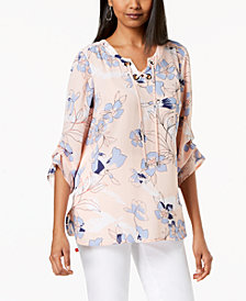 JM Collection Printed Lace-Up Tiered-Sleeve Top, Created for Macy's