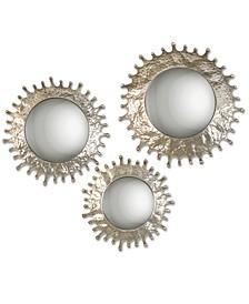 Rain Splash Round Mirrors, Set of 3