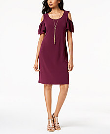 JM Collection Cold-Shoulder Removable-Necklace Dress, Created for Macy's