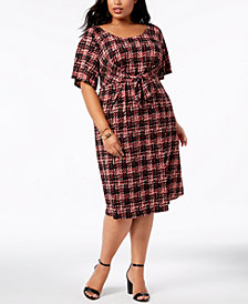 NY Collection Plus Size Printed Tie-Front Shift Dress