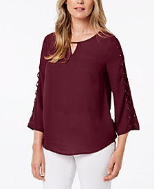 JM Collection Hardware-Embellished Lace-Up Top, Created for Macy's