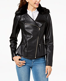 I.N.C. Faux-Fur-Trim Peplum Moto Jacket, Created for Macy's