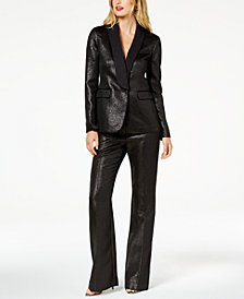 Zoe by Rachel Zoe Shimmer Jacket, Tuxedo Pants & Claire Platform Dress Sandals, Created For Macy's