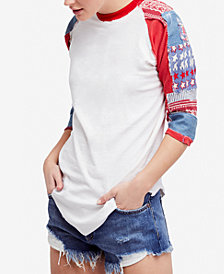 Free People Cotton Patchwork Raglan-Sleeve Top