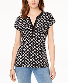 I.N.C. Split-Neck T-Shirt, Created for Macy's