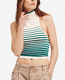 Free People High-Five Striped Mock-Neck Top