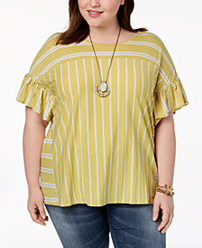Lucky Brand Trendy Plus Size Ruffled-Sleeve Top