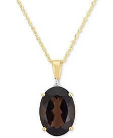 "Smoky Quartz (4-1/2 ct. t.w.) & Diamond Accent 18"" Pendant Necklace in 14k Gold"