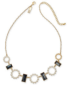 "I.N.C. Gold-Tone Stone & Imitation Pearl Statement Necklace, 18"" + 3"" extender, Created for Macy's"