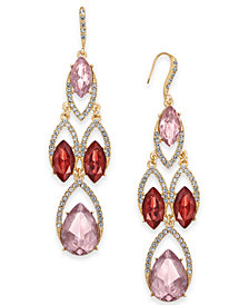 I.N.C. Gold-Tone Crystal & Stone Chandelier Earrings, Created for Macy's